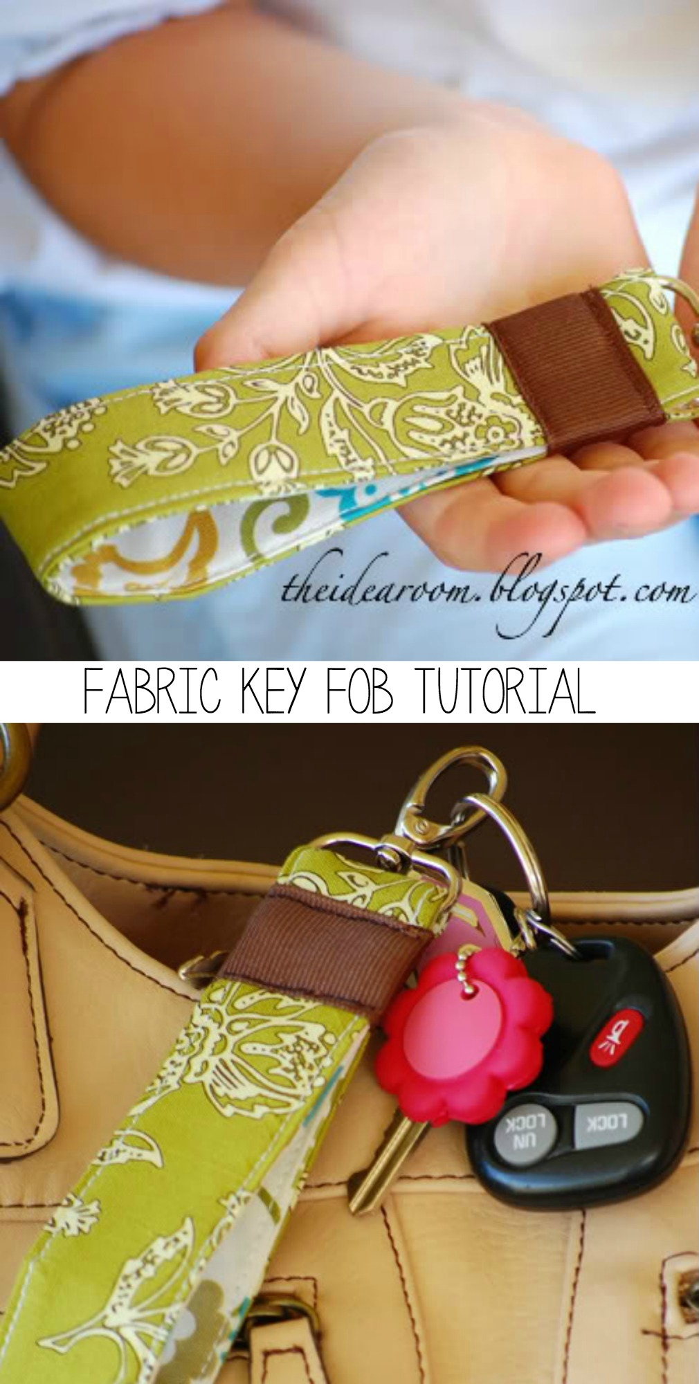How to Make a Fabric Keychain - great for using your scraps!