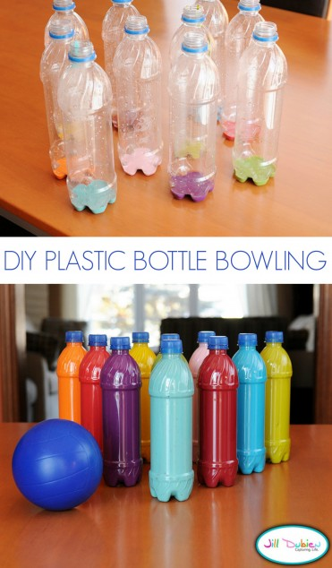 Turn water bottle into a fun bowling game for the kids!!