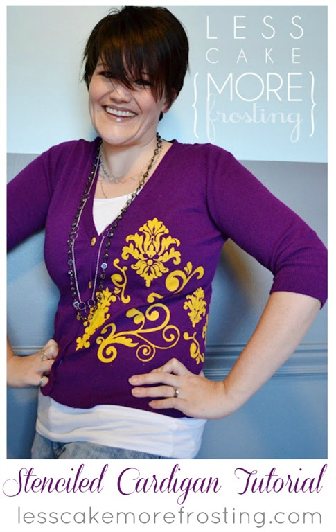 Stenciled Cardigan by Less Cake More Frosting