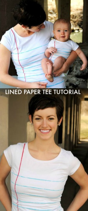 Lined Paper Tee Tutorial by Maybe Matilda