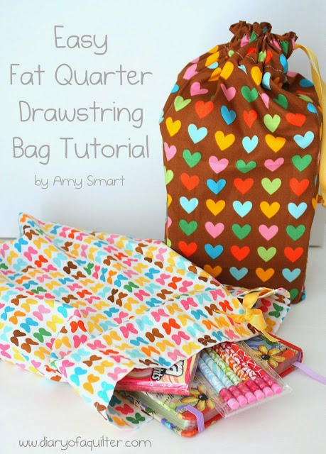 Drawstring Bag Tutorial by Diary of a Quilter - using fat quarters!