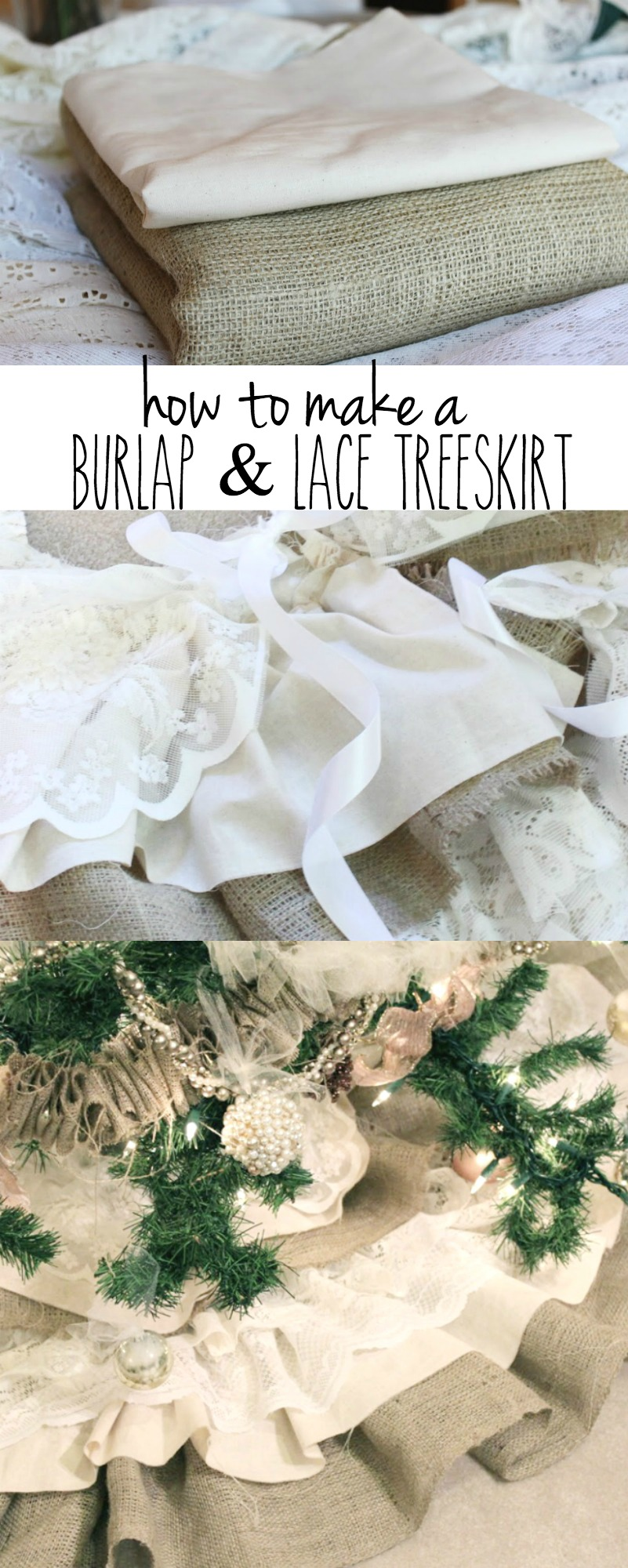 How to Make a Burlap and Lace Treeskirt