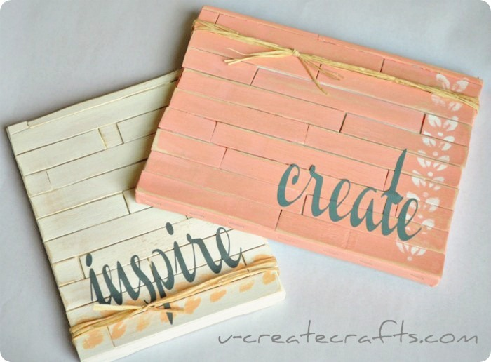 Make a mini pallet using popsicle sticks!