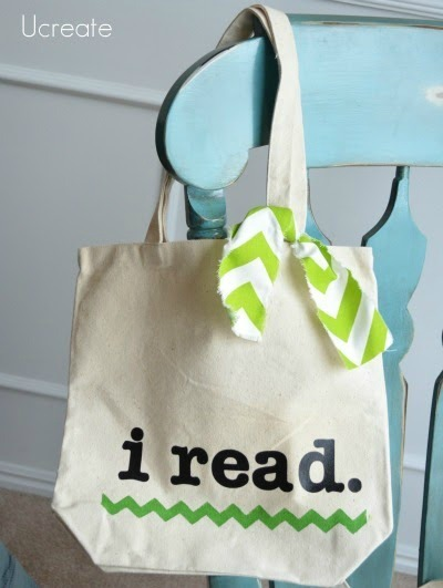I Read Library Tote Tutorial with library card pocket!