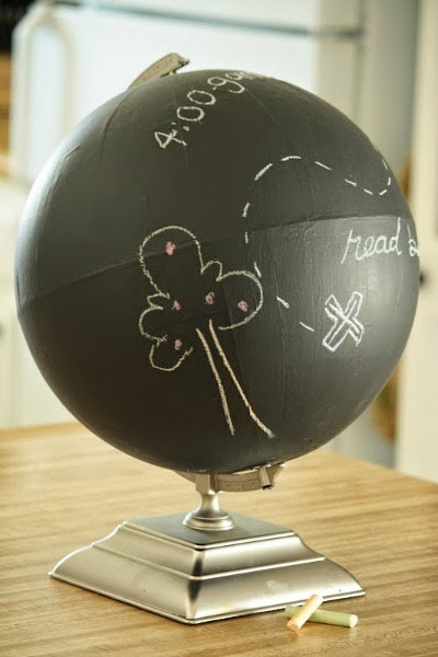 Chalkboard Globe Tutorial by Emily MacGregor - TONS of Chalkboard Paint Tutorials!