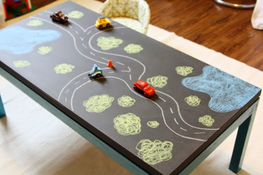 DIY Chalkboard Play Table at I Heart Organizing