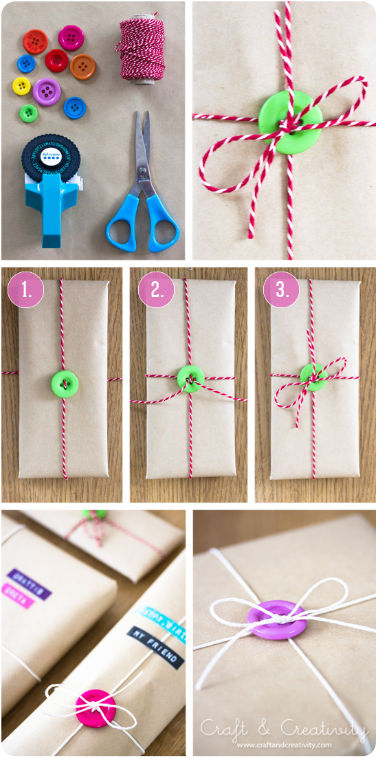 Gift Wrapping with Buttons by Craft and Creativity