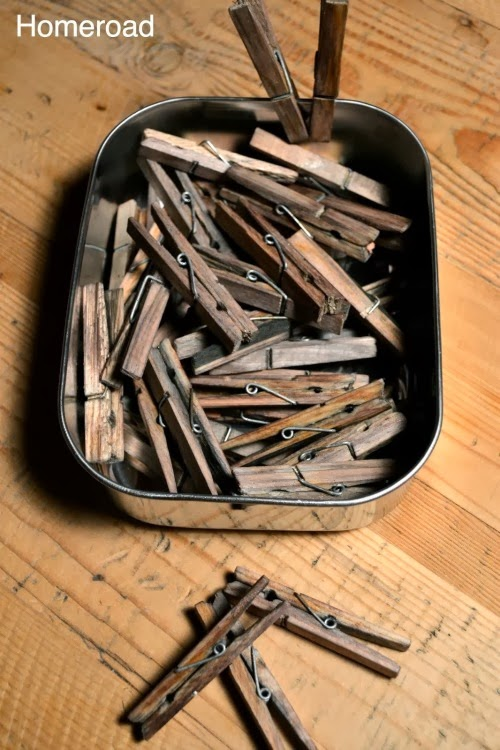 How to Make Aged Clothespins by Homeroad