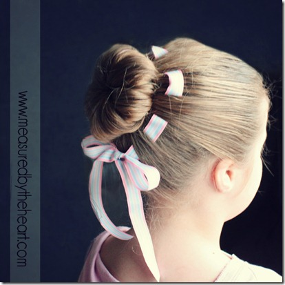 flower bun with woven ribbon