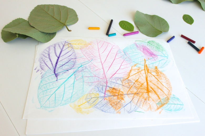 Leaf Rubbing Collages - 20 camping crafts for kids!