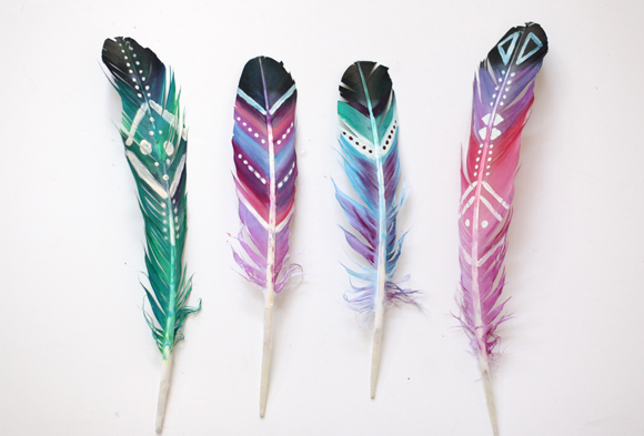 Painted feathers craft - 20 Camping Crafts for Kids!