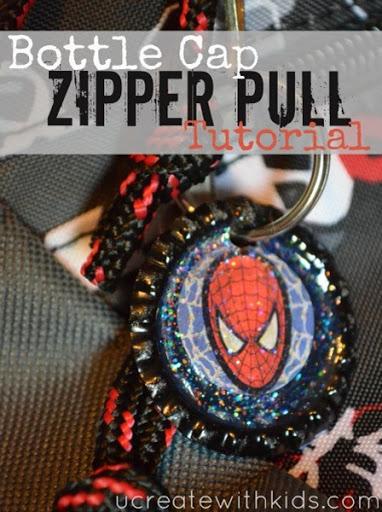 Awesome Bottle Cap Zipper Pull Tutorial u-createcrafts.com