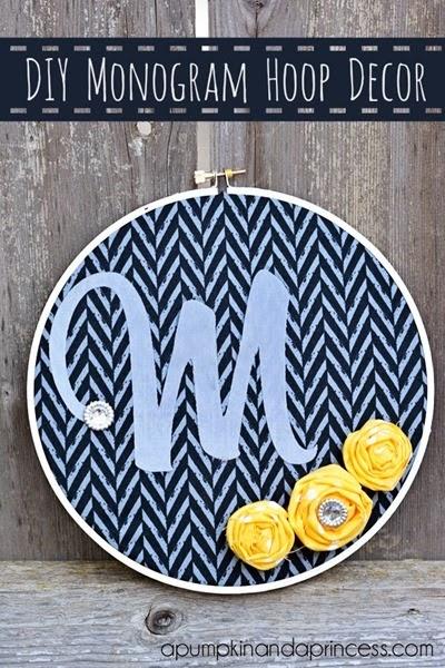 DIY Monogram Hoop Decor