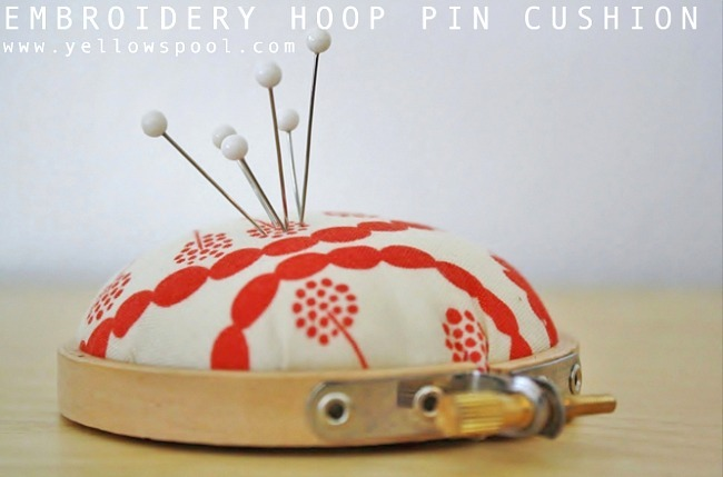 DIY Embroidery Hoop Pincushion