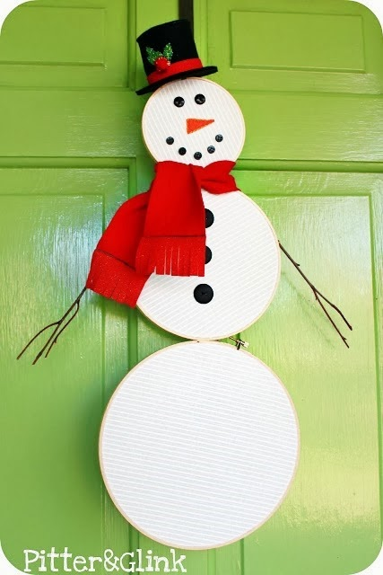 how to make an embroidery hoop snowman