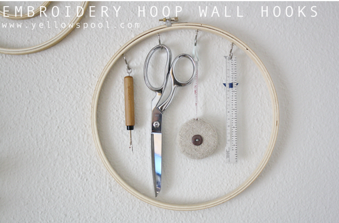 embroidery hoop wall hooks - craft decor ideas
