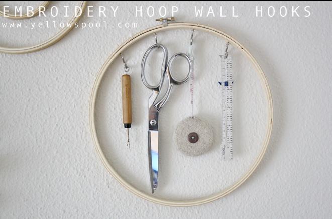 embroidery hoop wall hooks - craft decor ideas