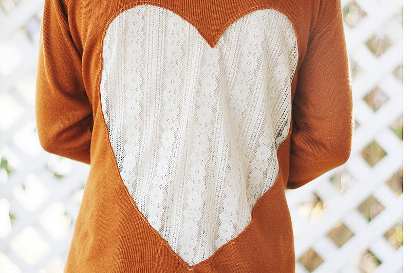 DIY Lace Heart Cardigan