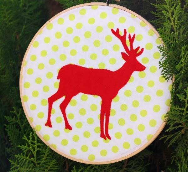 reindeer silhouette hoop art