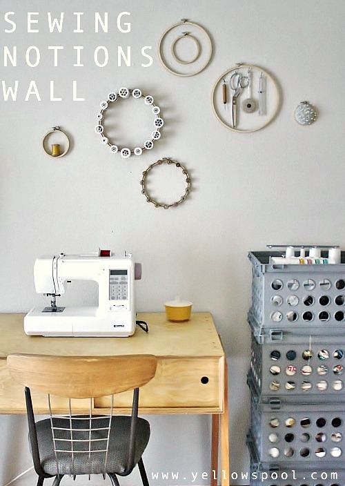 sewing notions wall tutorial by Yellow Spool