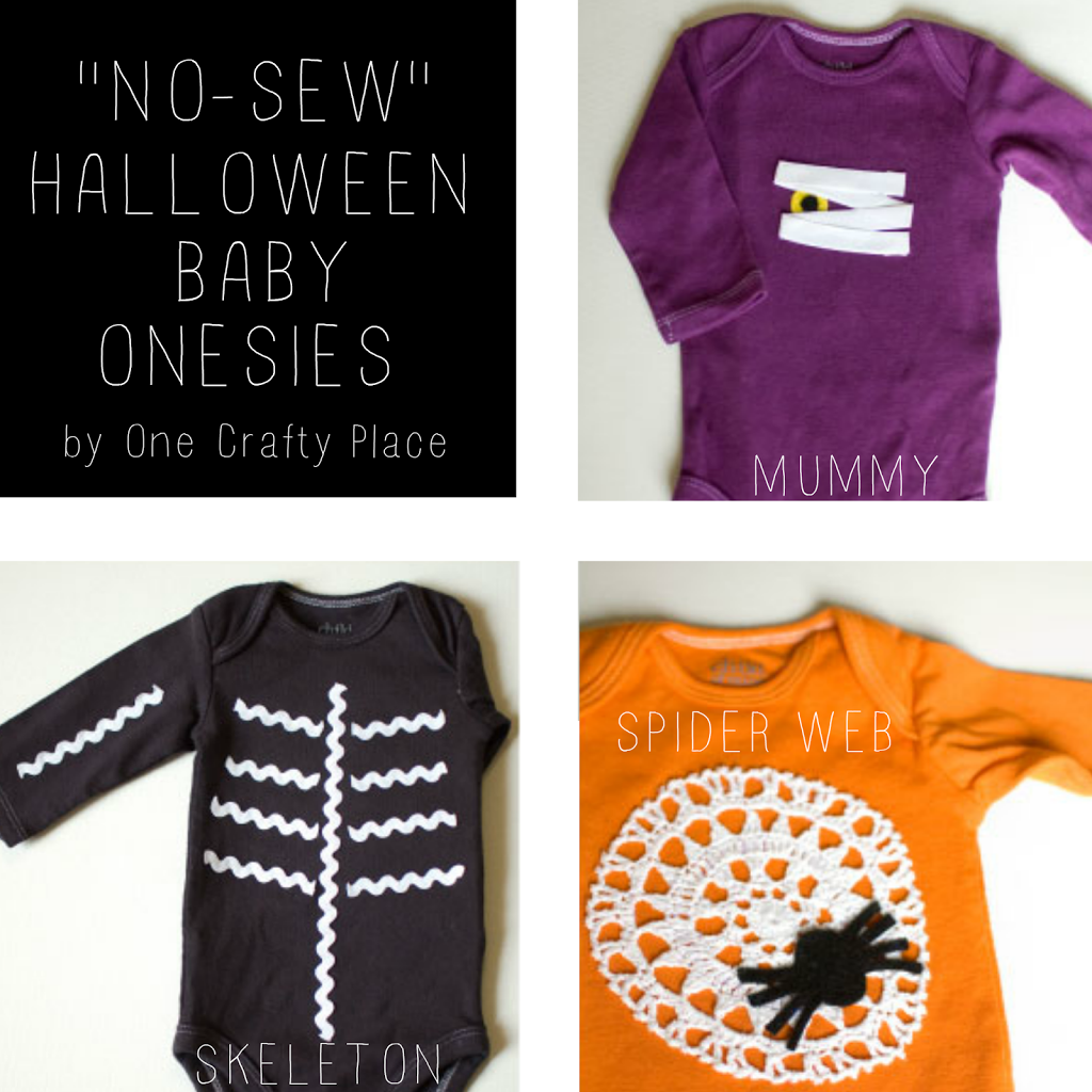 """No Sew"" Halloween Baby Onesies by One Crafty Place"