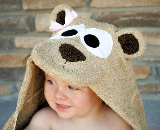 Hooded Teady Bear Towel by Crazy Little Projects. Perfect baby gift!