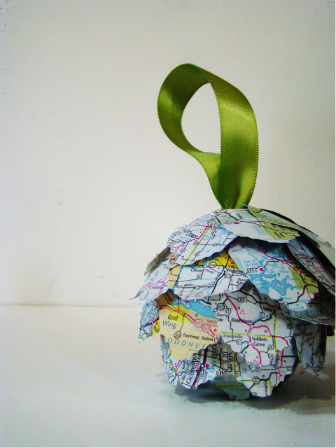 map kissing ball ornament by maryjanes and galoshes