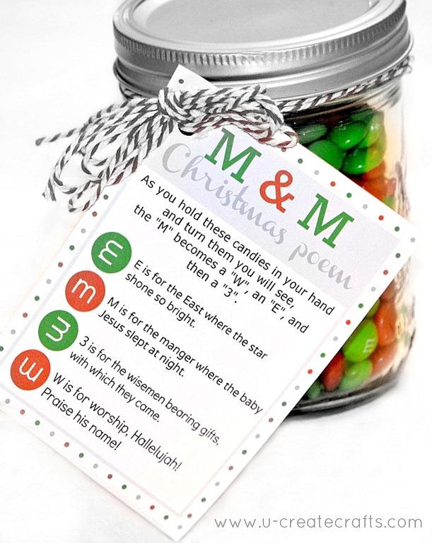 M&M Christmas Poem Free Printable
