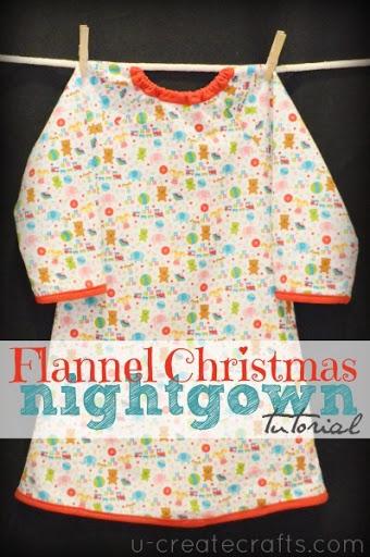 Riley Blake Flannel Nightgown Tutorial u-createcrafts.com