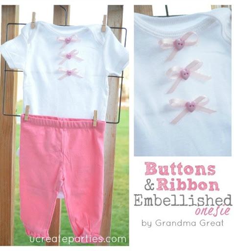 Sewn Buttons Onesie u-createcrafts.com