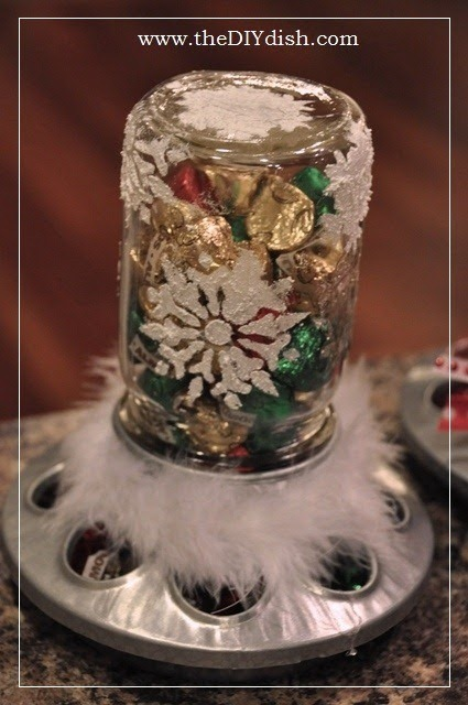 finished snowflake candy jar