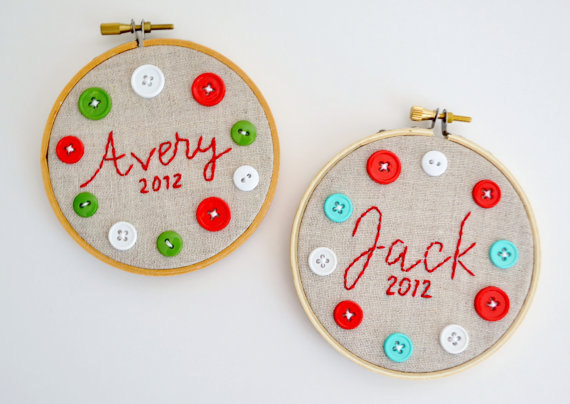 personalized hoop ornaments by burlap + blue