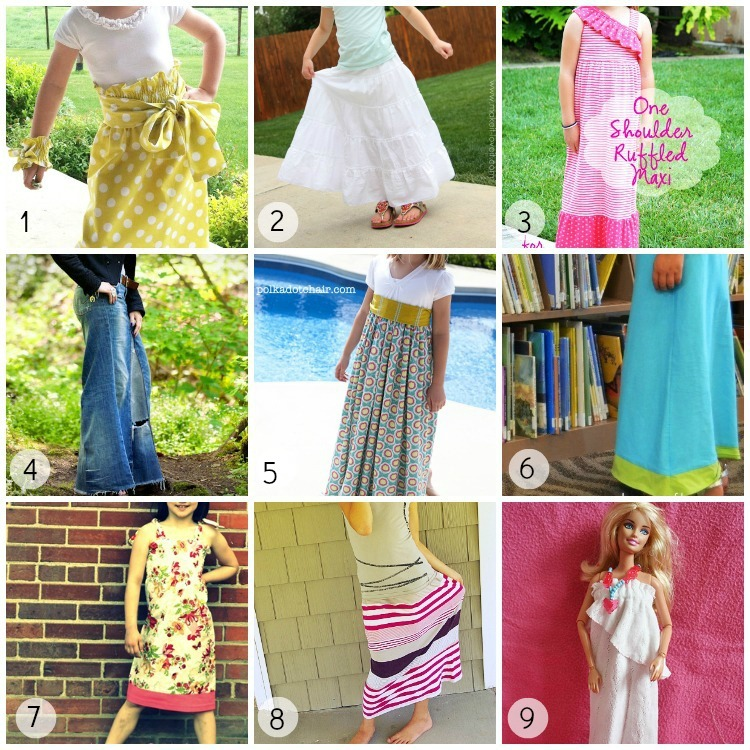 9 Little Girl Maxi Skirt and Dress Tutorials