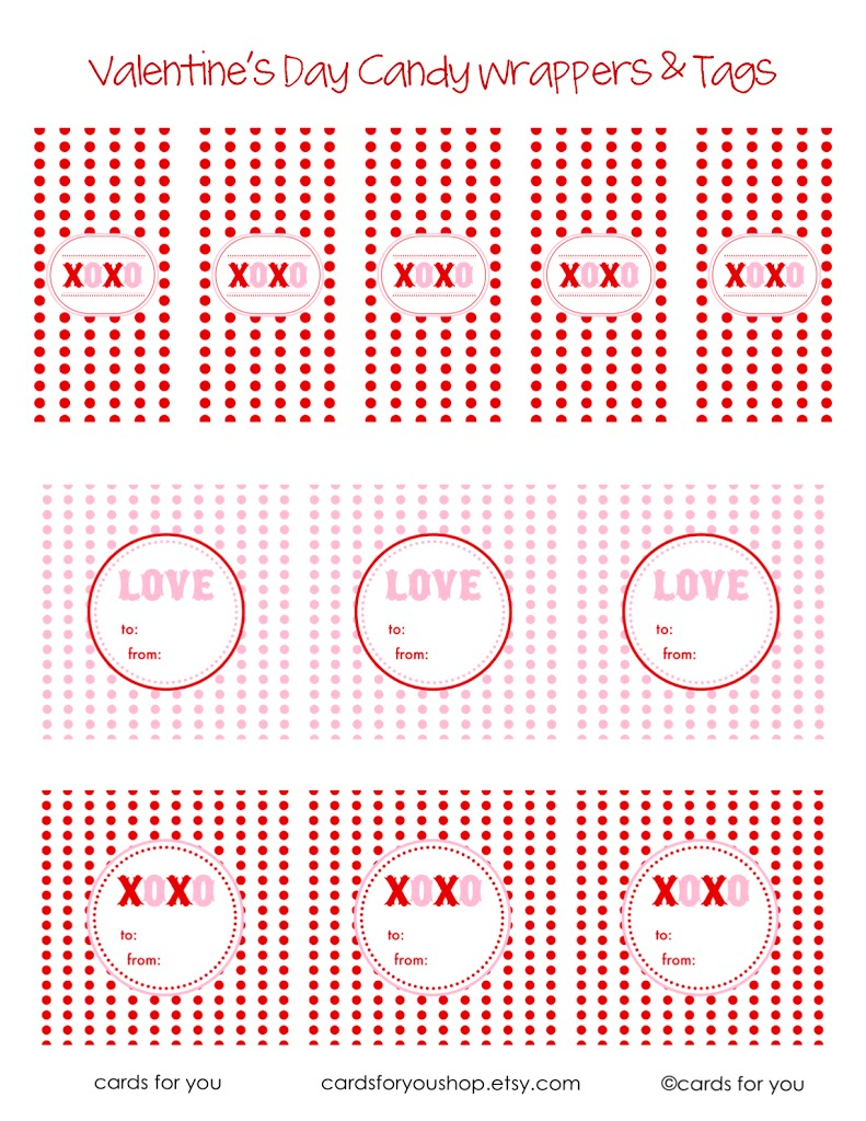 Vday candy wrappers and tags