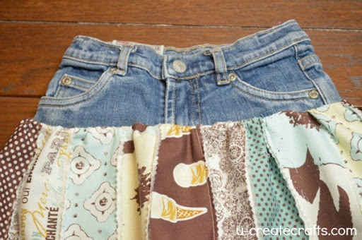 Denim and Fabric skirt