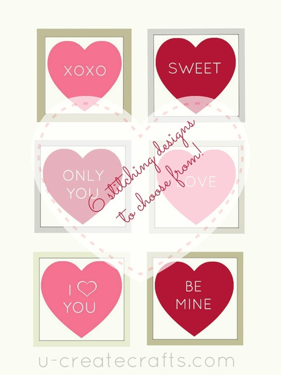FREE Stitchables: 6 Conversation Hearts at u-createcrafts.com