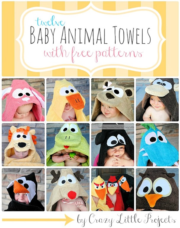 Baby Animal Towel Tutorials by Crazy Little Projects