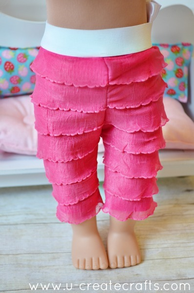 American Doll Ruffle Pants Tutorial at u-createcrafts.com