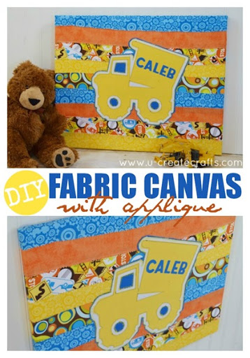 DIY Canvas with Fabric Applique at u-createcrafts.com
