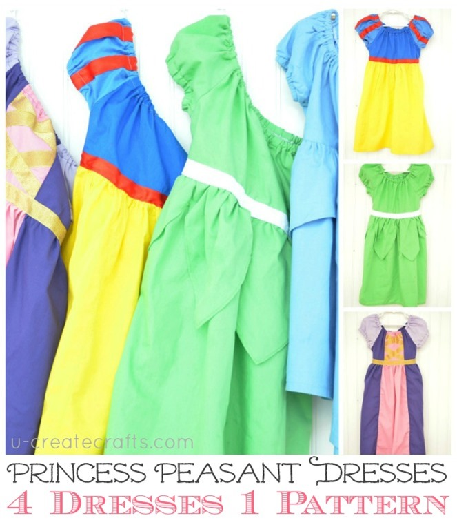 4 Disney Princess Dresses ONE Pattern at u-createcrafts.com