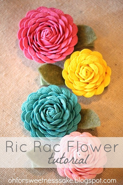 Ric Rac Flower Tutorial - these flowers are great for craft accents and hair flowers! Ric Rac gives the flowers a fun texture and look adorable!
