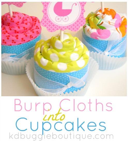 Baby Burp Cloth Cupcakes Tutorial