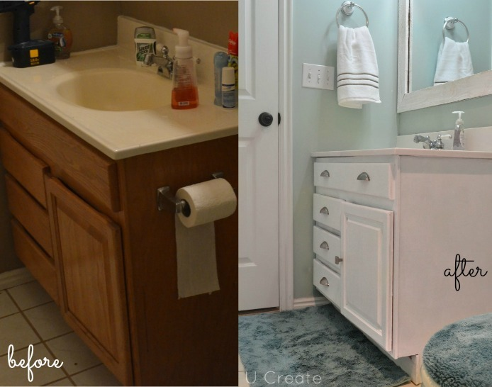 painting bathroom cabinets before and after the creepy bathroom remodel u create - Bathroom Cabinets Before And After