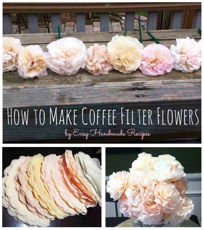 How to Make Coffee Filter Flowers - gorgeous for bridal showers, centerpiece decorations, crafts, etc. Grab coffee filters and you're ready to go!