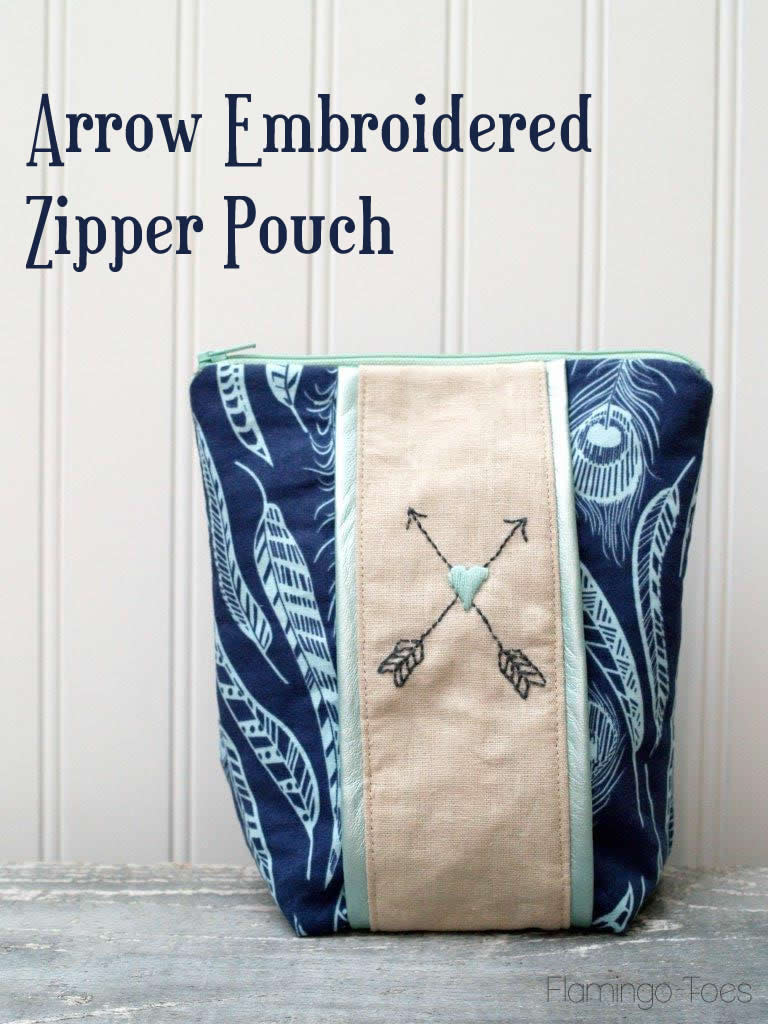 Arrow Embroidered Pouch by Flamingo Toes