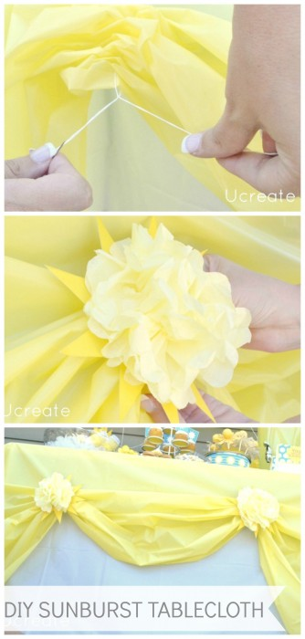DIY Sunburst Tablecloth Tutorial - using $1 store items! u-createcrafts.com