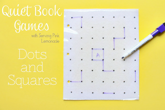 Quiet Book Game - Dry Erase Dots and Squares by Serving Pink Lemonade