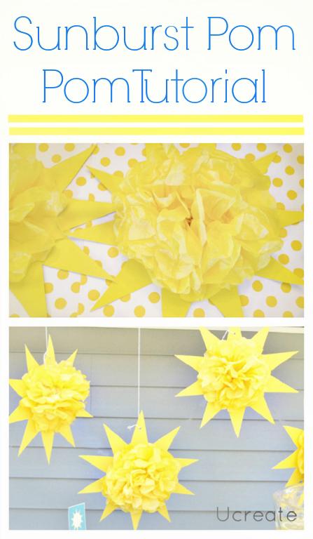 Sunburst Pom Pom Tutorial for Sunny Party!