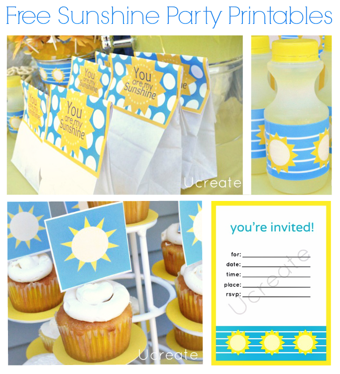 Sunshine Party Free Printables by UCreate