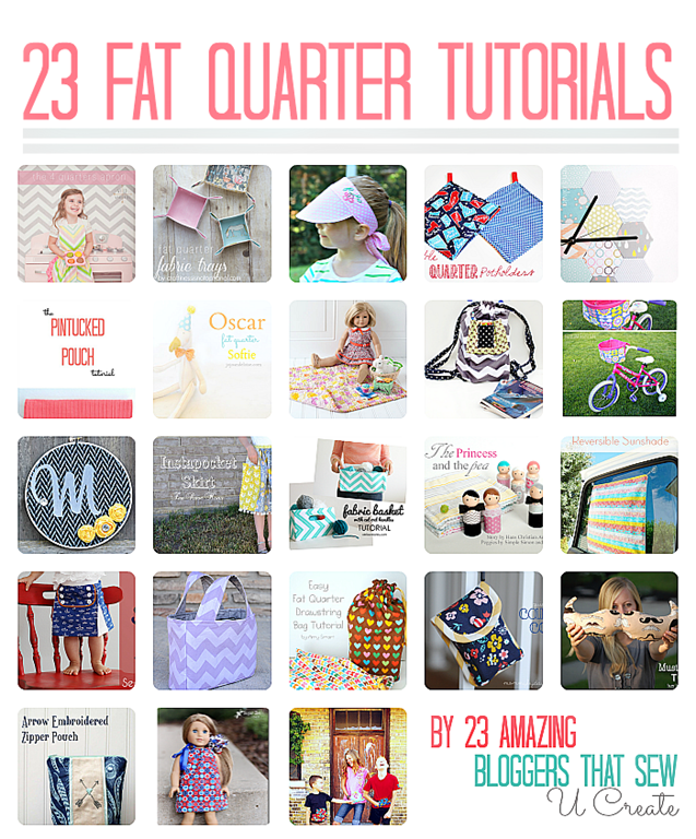 23 Fat Quarter Tutorials by 23 Amazing Bloggers that Sew!